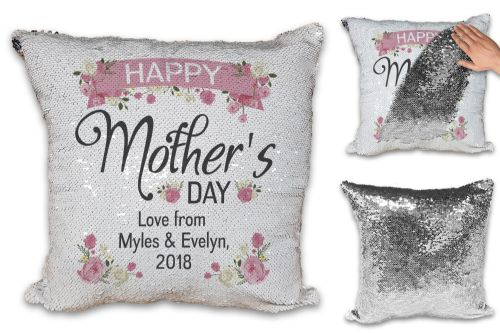 Personalised Happy Mother's Day Lovely Floral Sequin Reveal Magic Cushion Cover